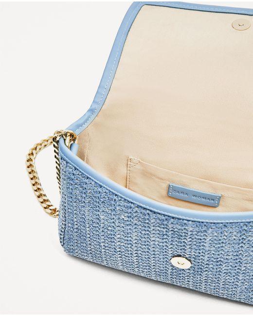Zara Crossbody Bag With Flowers In Blue | Lyst