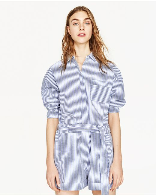 Zara Striped Embroidered Jumpsuit In Blue  Lyst
