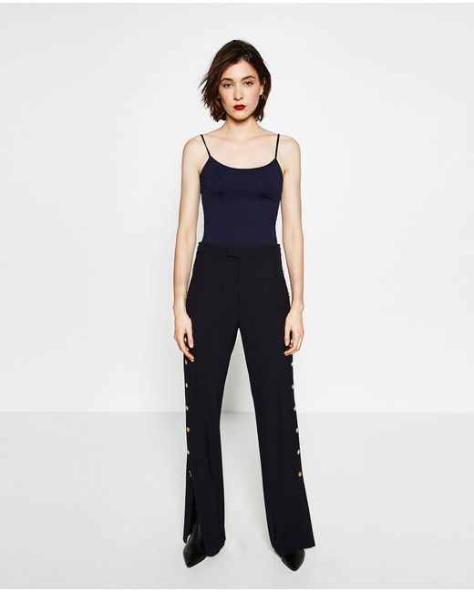 Zara | Blue T-shirt With Thin Straps | Lyst