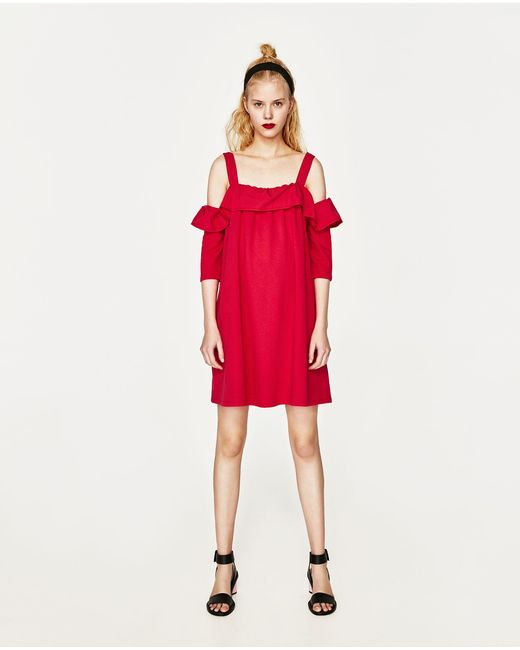 Zara | Red Frilled Poplin Dress | Lyst