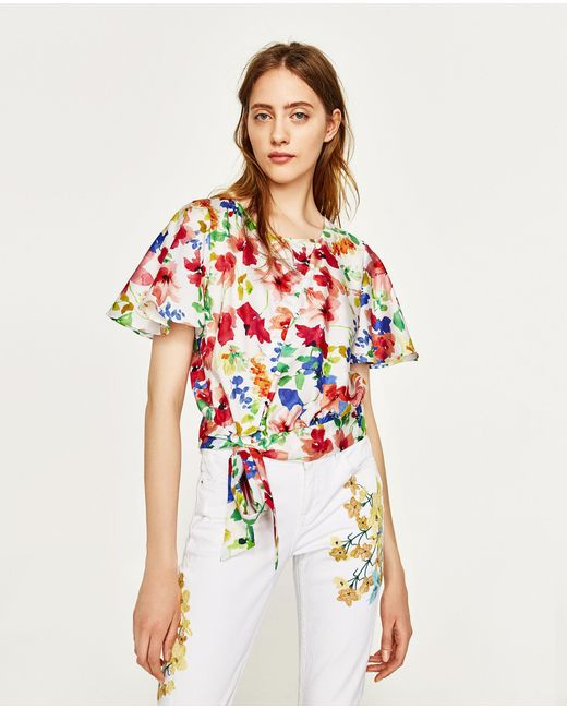 Zara jeans with floral embroidery lyst