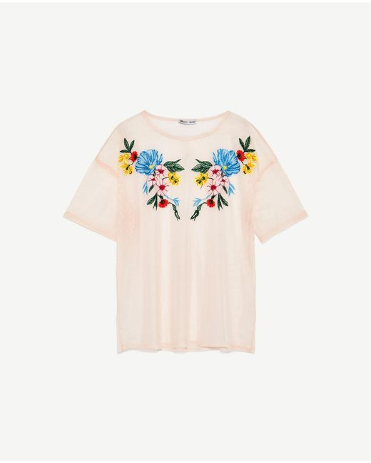 Zara embroidered tulle t shirt lyst