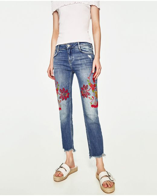Zara jeans with floral embroidery in blue lyst