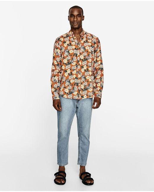 Zara floral shirt for men lyst for Zara mens shirts sale
