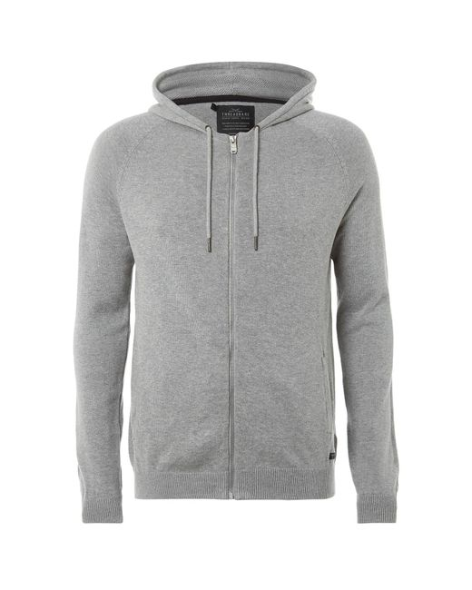 Threadbare - Gray Hampton Knitted Hoody for Men - Lyst
