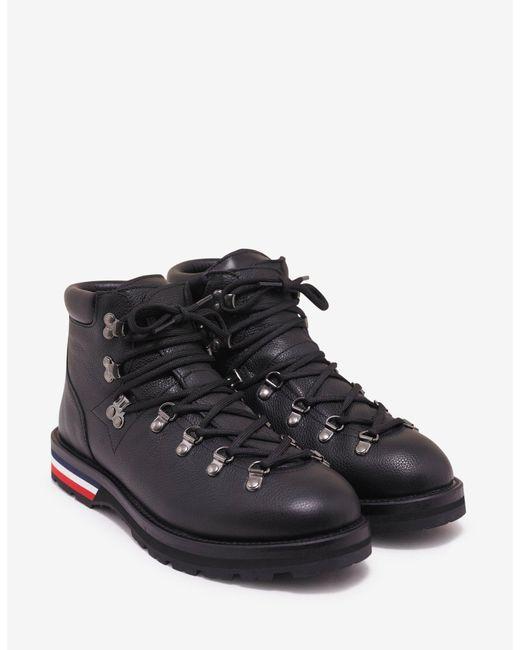 Moncler Peak Black Leather Ankle Boots for men