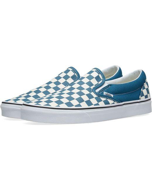 Vans Men's Green Classic Slip On Checkerboard