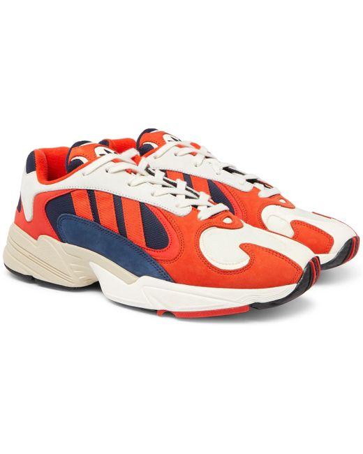 adidas Originals Men's Orange Yung 1 Suede And Mesh Sneakers