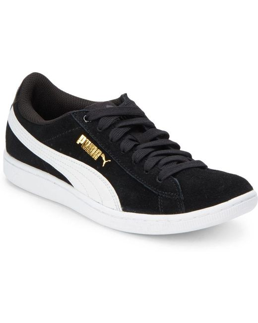 PUMA Men's Gray Vikky Lace-up Round Toe Sneakers