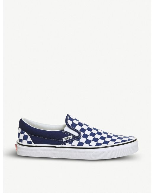 Vans Men's Classic Checkerboard-print Canvas Slip-on Trainers