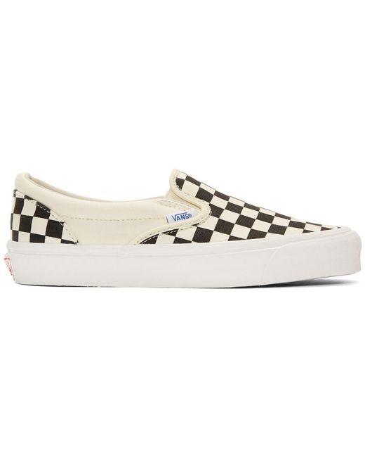 Vans Men's Black And Off-white Og Checkerboard Classic Slip-on Sneakers