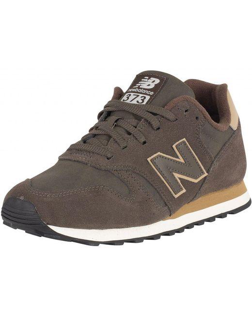 New Balance Men's Black/grey 373 Suede Trainers