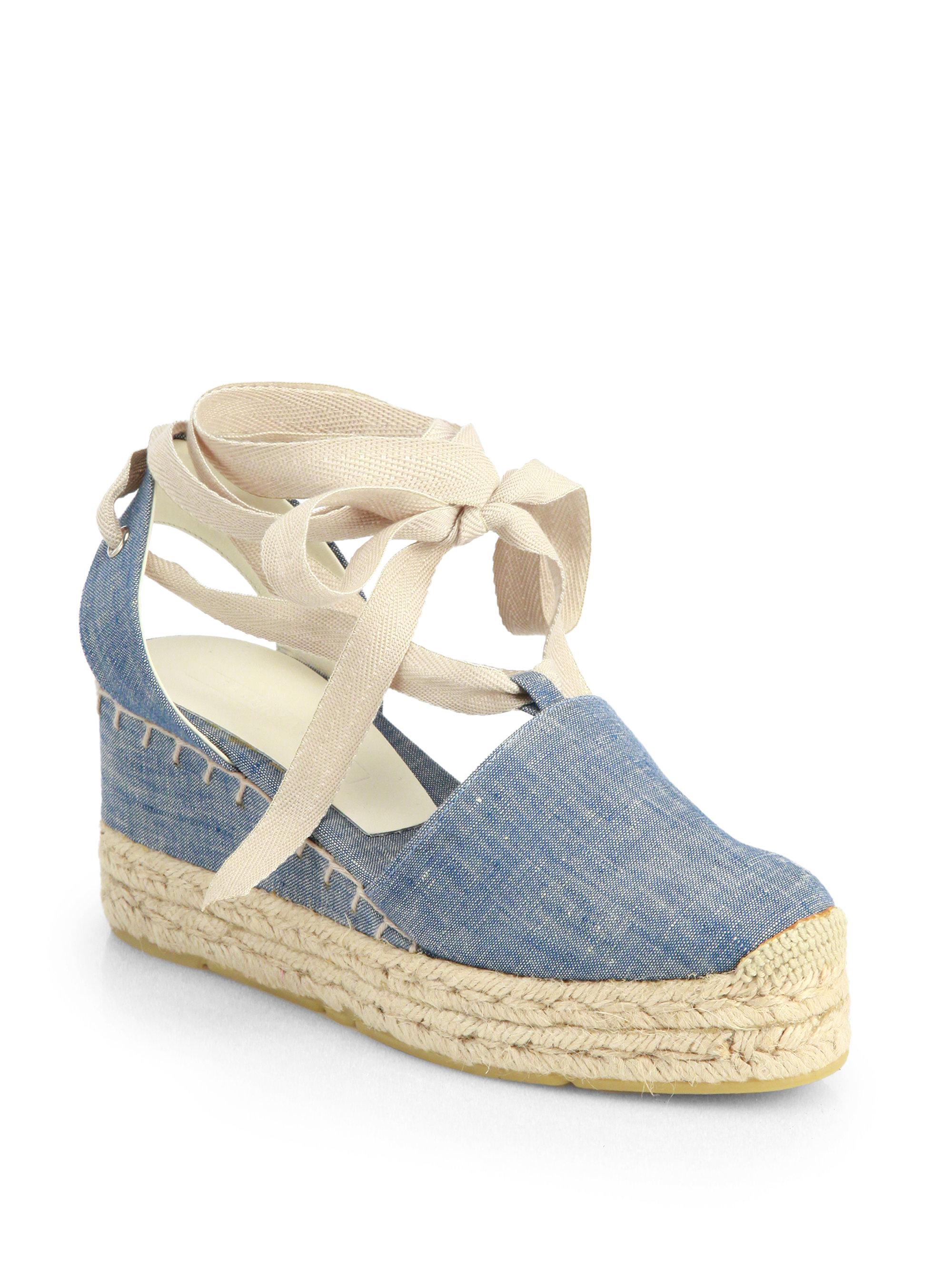 ralph lauren collection uma denim espadrille wedge sandals in blue lyst. Black Bedroom Furniture Sets. Home Design Ideas