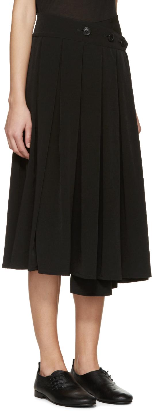 9b8861a72aadd1 Y's Yohji Yamamoto Black Crepe Wrap Skirt in Black - Lyst