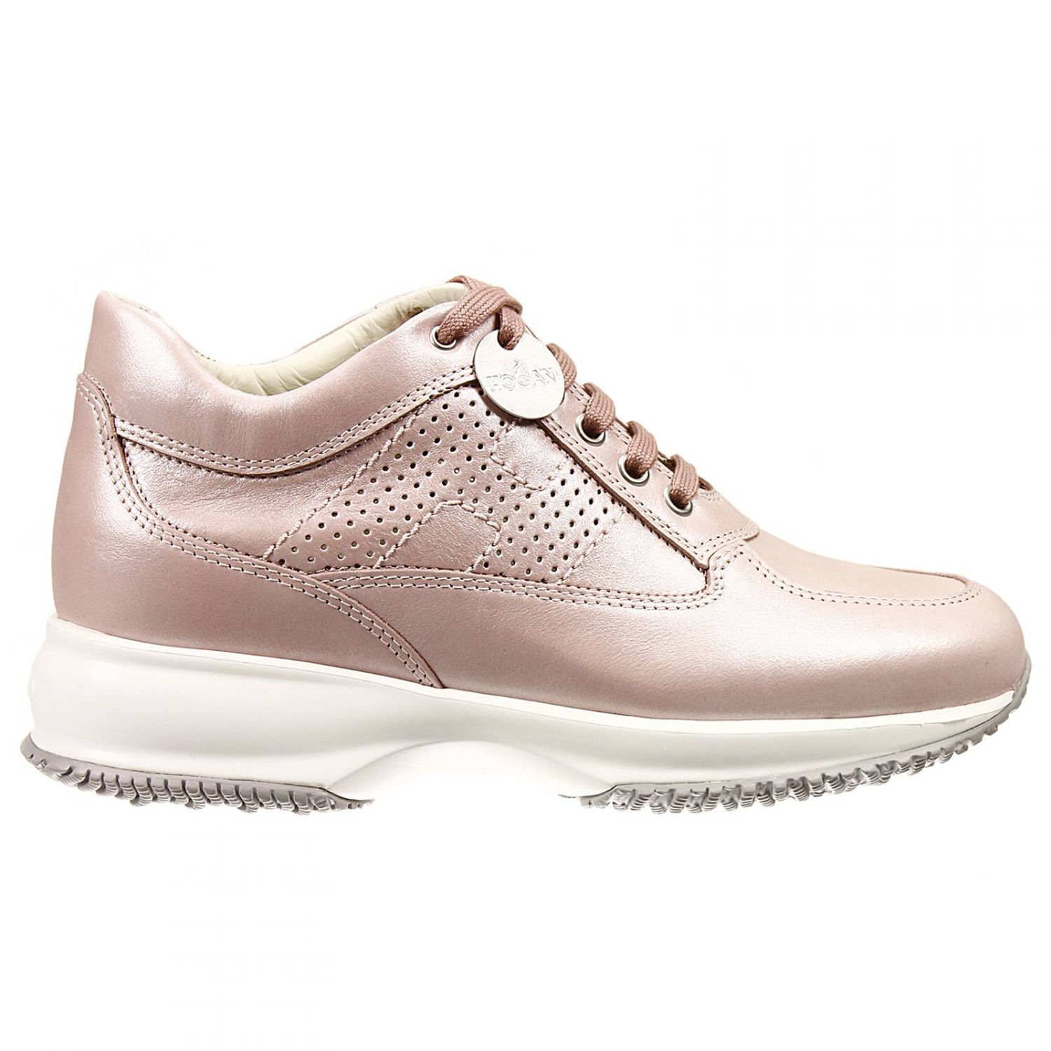 Lyst - Hogan Sneakers Interactive Perforate H Pearly Leather Shoes ... 0a7974878ed