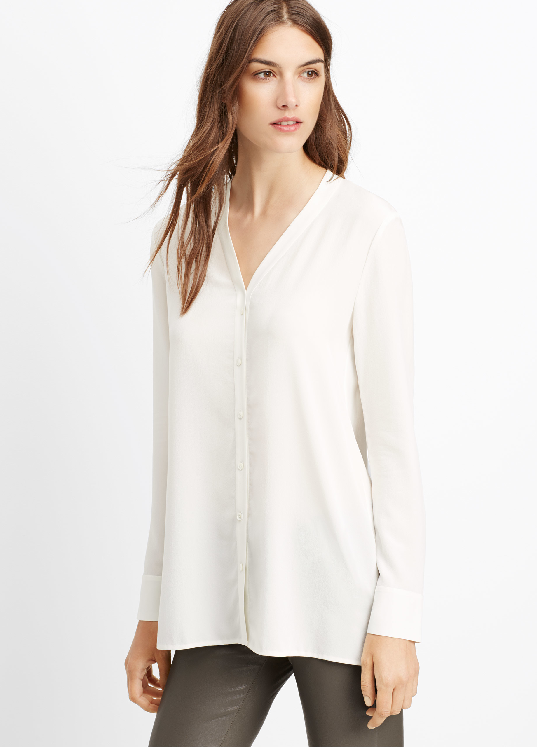 2a5c455792fa1 Lyst - Vince Silk Button-up Blouse in White