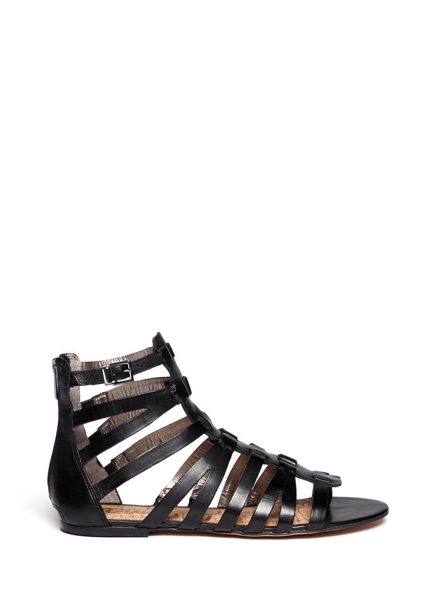Sam Edelman Gemma Suede Flat Lace Up Sandal In Black Lyst