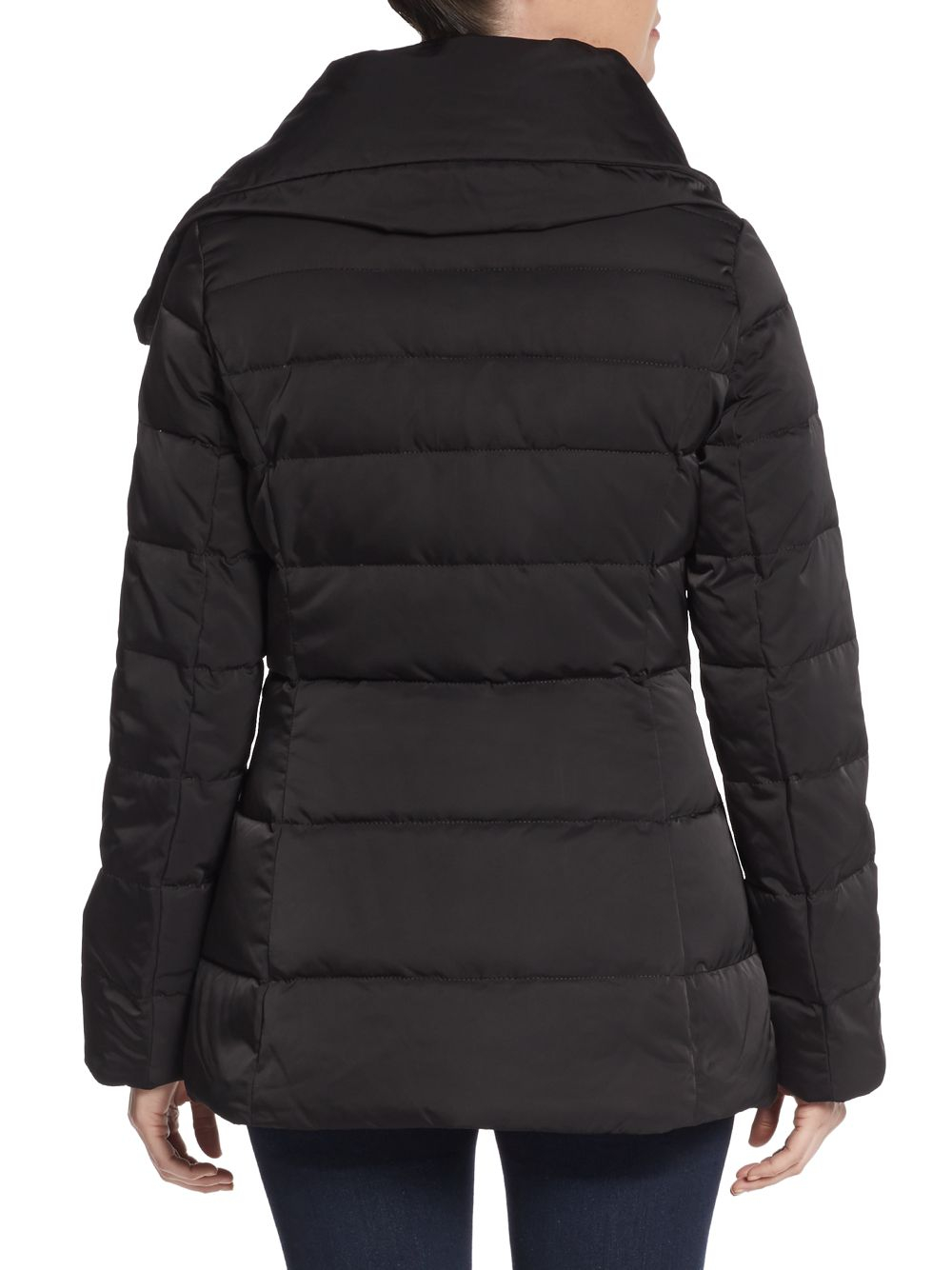 Vera Wang Asymmetrical Quilted Puffer Jacket In Black Lyst