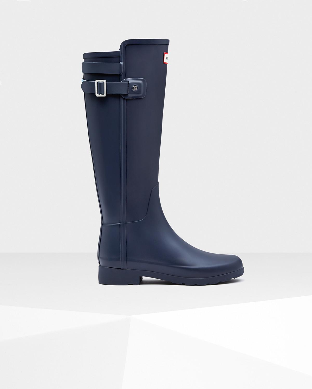hunter 39 original refined 39 chelsea rain boot in blue lyst. Black Bedroom Furniture Sets. Home Design Ideas