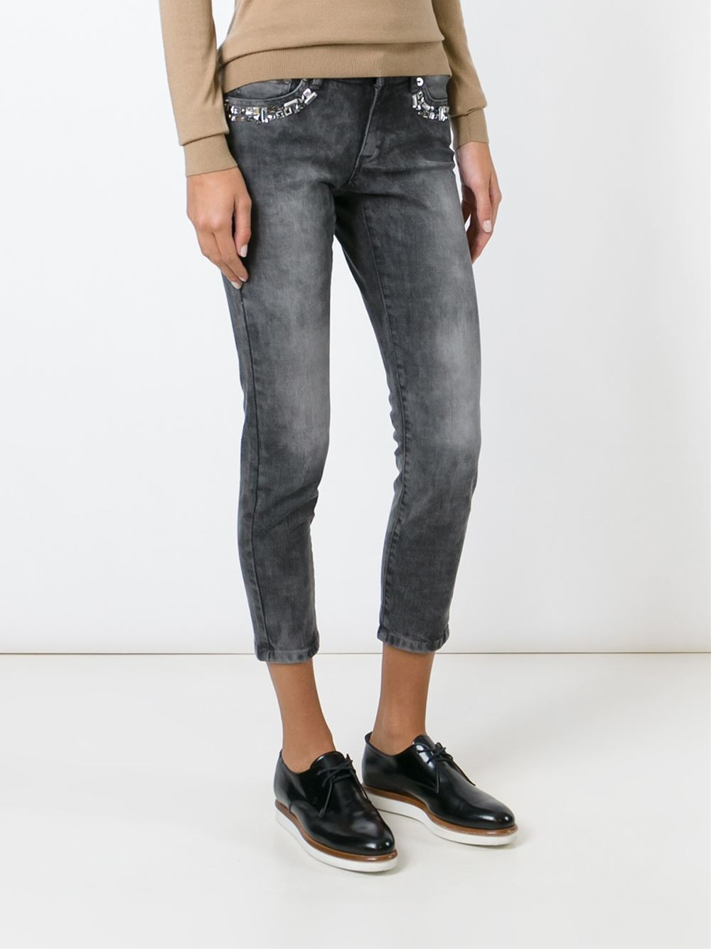 michael michael kors embellished cropped skinny jeans in gray lyst. Black Bedroom Furniture Sets. Home Design Ideas