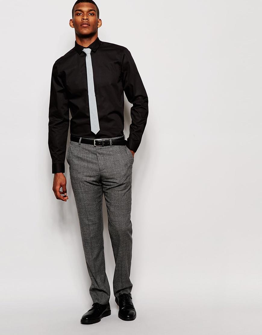 Lyst asos smart shirt and tie set save 20 in black for men for Black shirt black tie