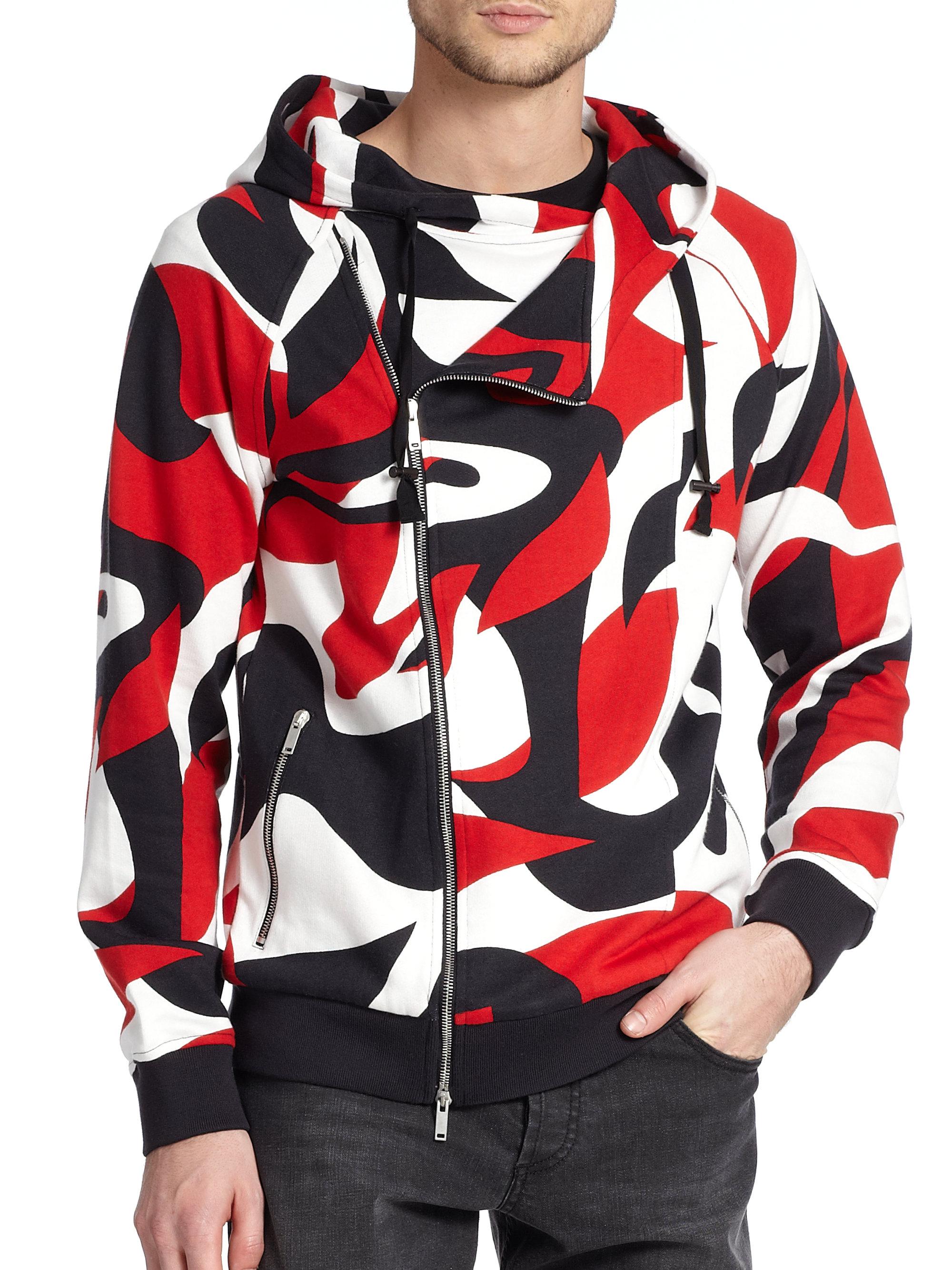alexander mcqueen asymmetric zip front printed hoodie for men lyst. Black Bedroom Furniture Sets. Home Design Ideas