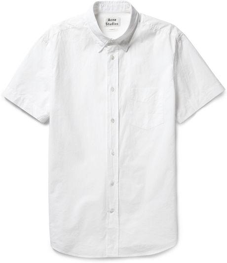 Acne studios isherwood button down collar cotton poplin for White button down collar shirt