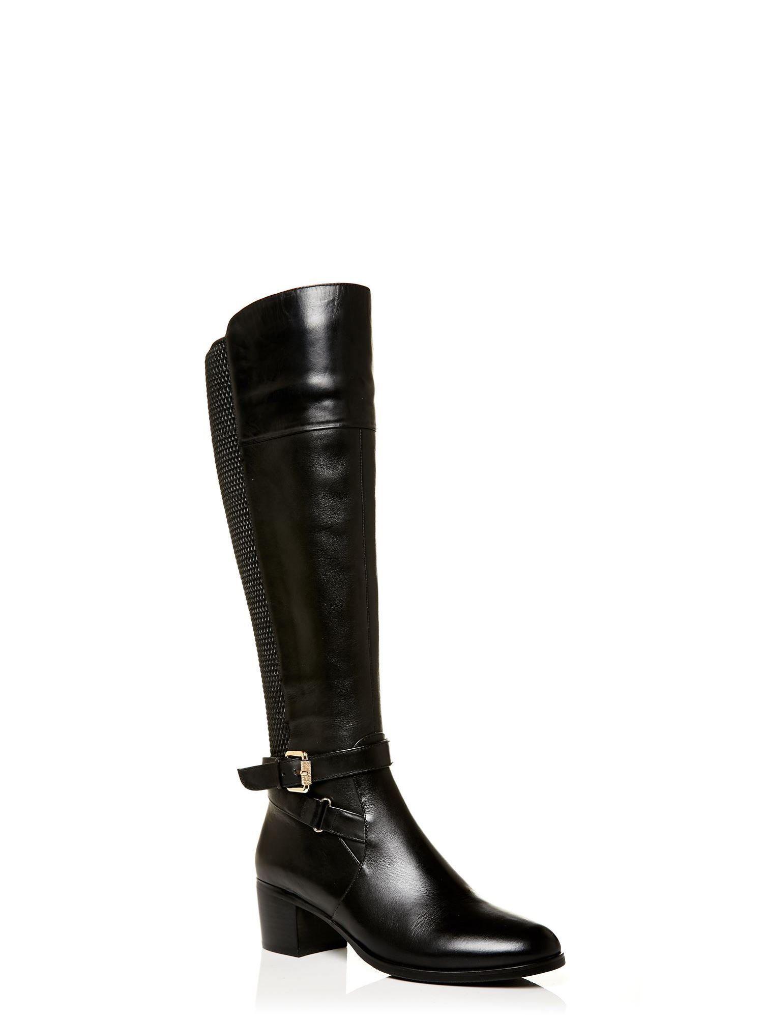 Moda In Pelle Leather Torina Low Smart Long Boots in Black