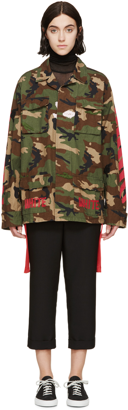 Lyst - Off-White c o Virgil Abloh Green Camo Military Jacket in Green c27a258f3