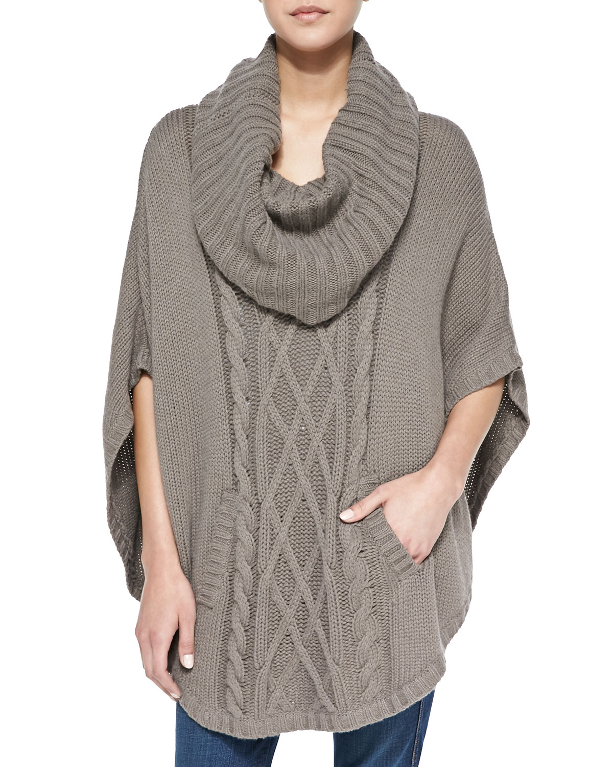 Autumn cashmere Cable-knit Cowl-neck Cashmere Poncho in Gray | Lyst