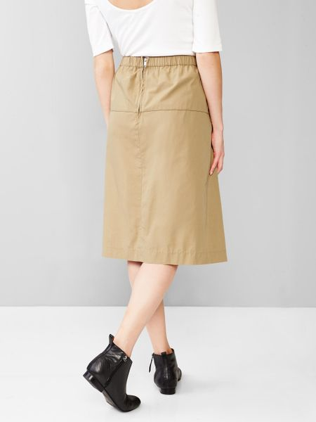 gap midi skirt in khaki cargo khaki lyst