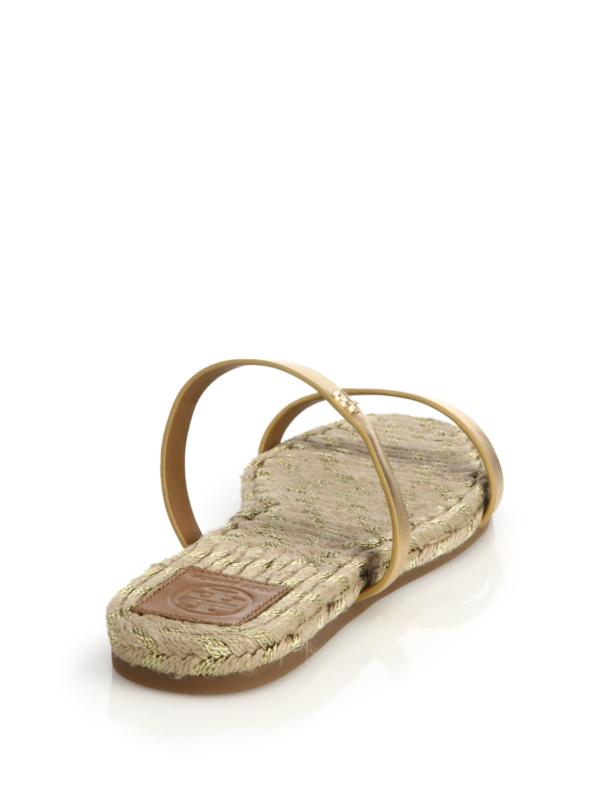 Cheap Wholesale Tory Burch Metallic leather slides Visit New 90qULMpTd