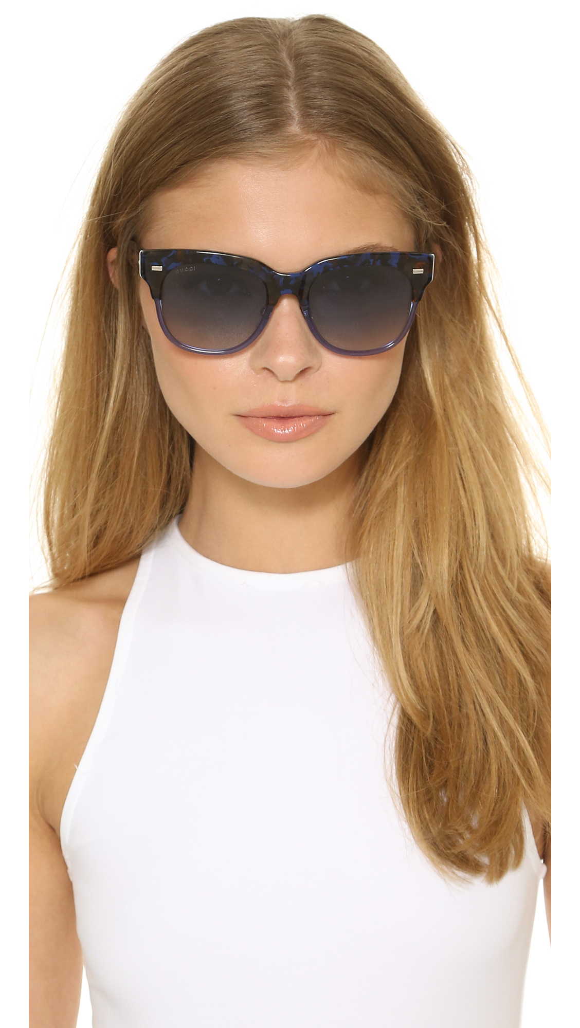 Gucci Spotted Top Sunglasses In Blue Lyst