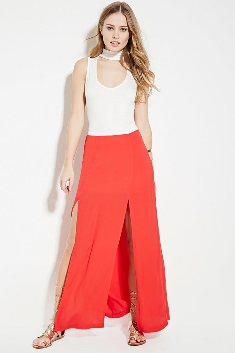 forever 21 high slit maxi skirt in lyst