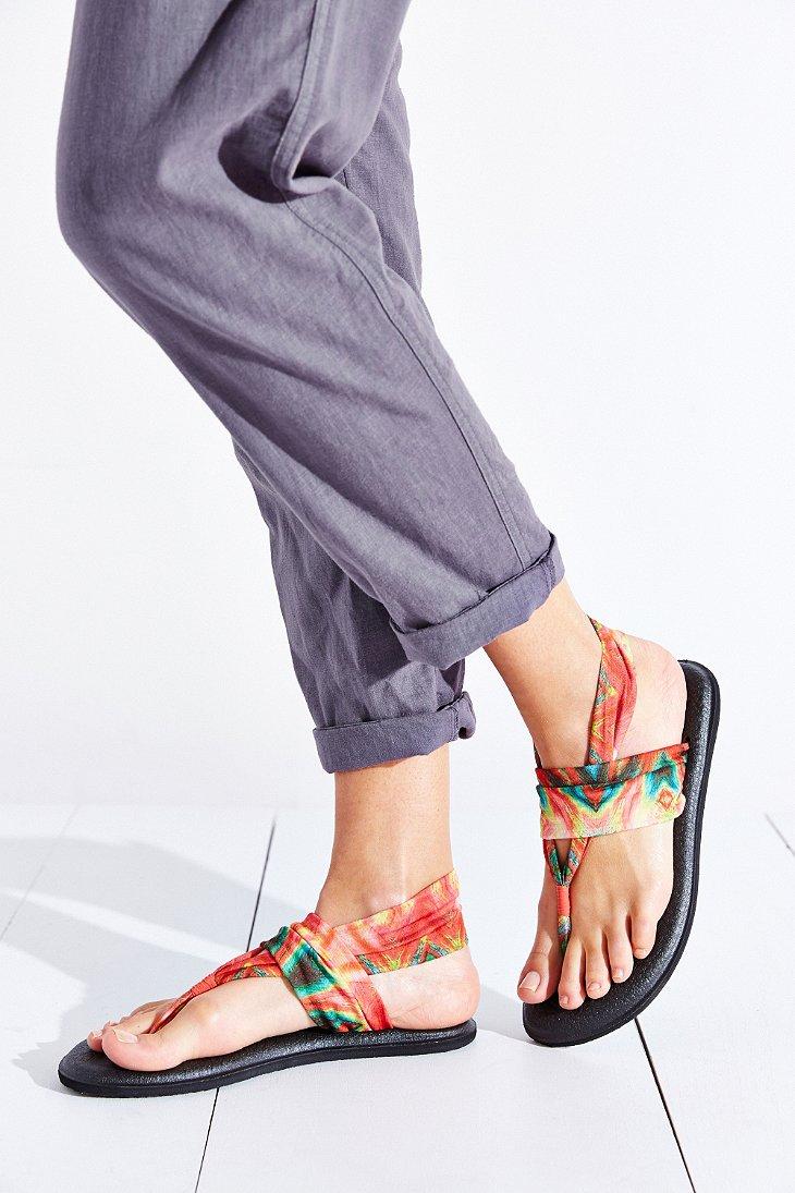 Sanuk Tie Dye Yoga Sling Sandal In Black Lyst