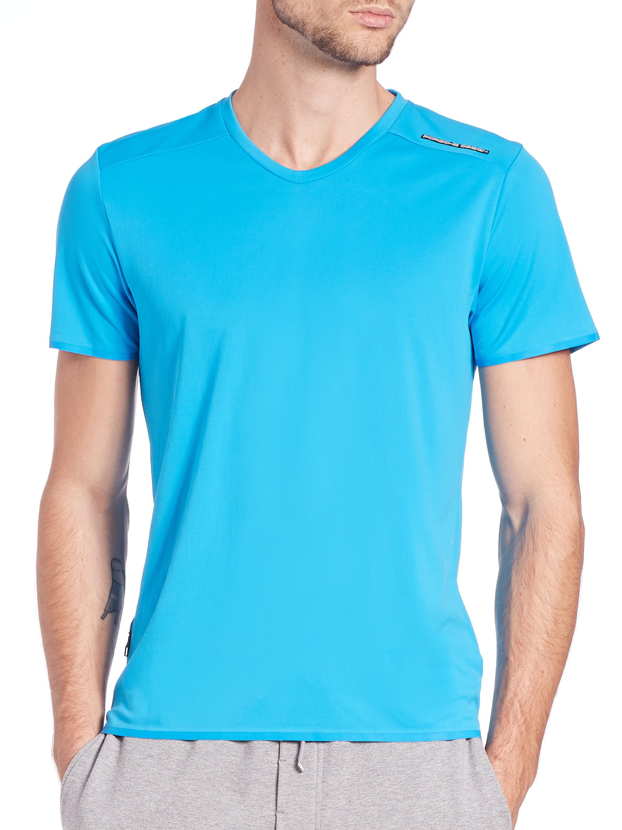 Lyst porsche design aqua chill t shirt in blue for men for Aqua blue color t shirt
