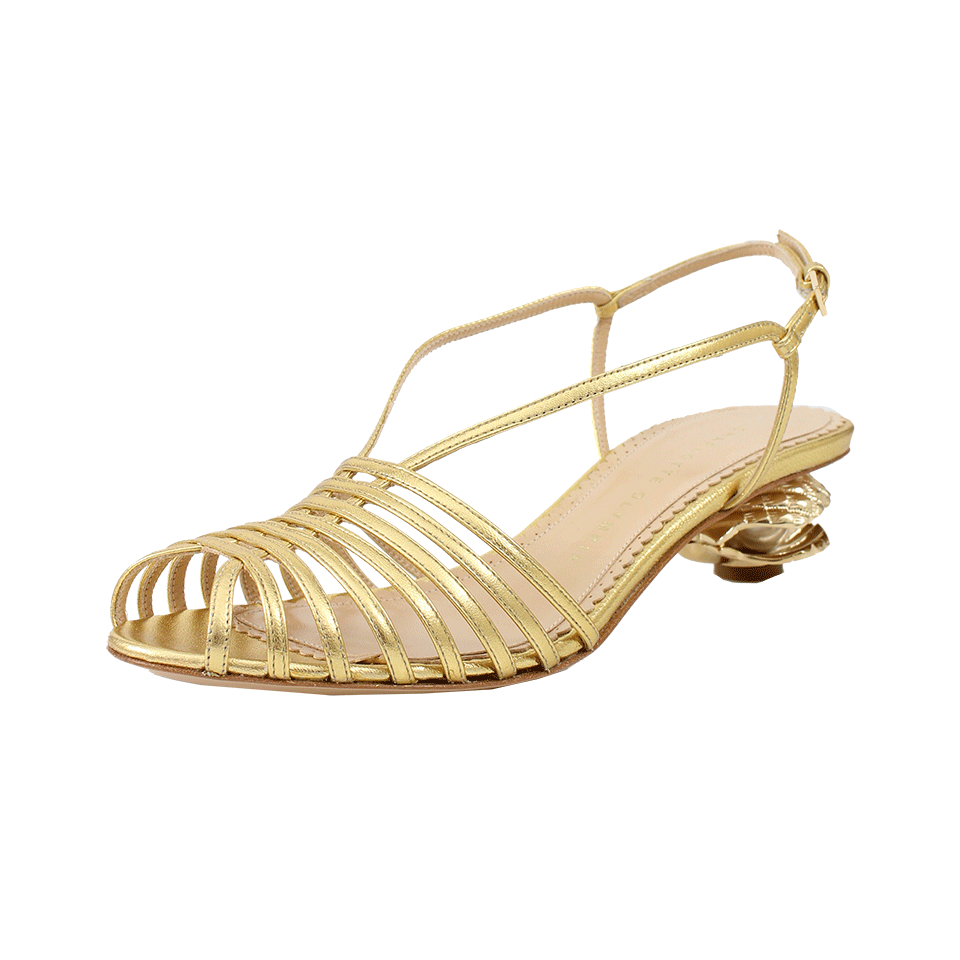 Charlotte Olympia Clam and Heel Gold Sandal