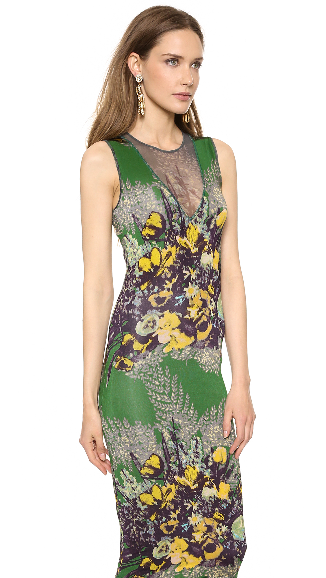lyst jean paul gaultier sleeveless printed dress verde. Black Bedroom Furniture Sets. Home Design Ideas