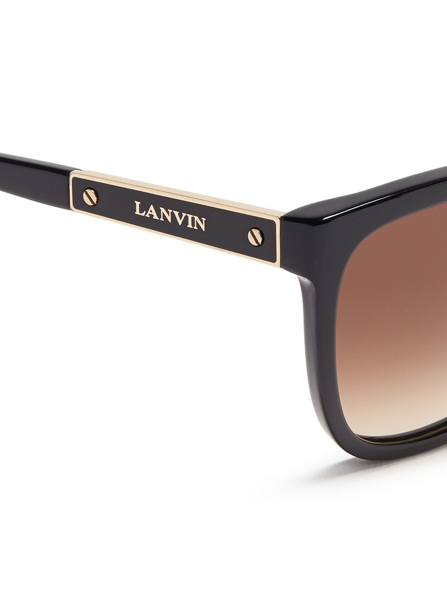 Lanvin Logo Metal Temple Bar Square Acetate Sunglasses in Black