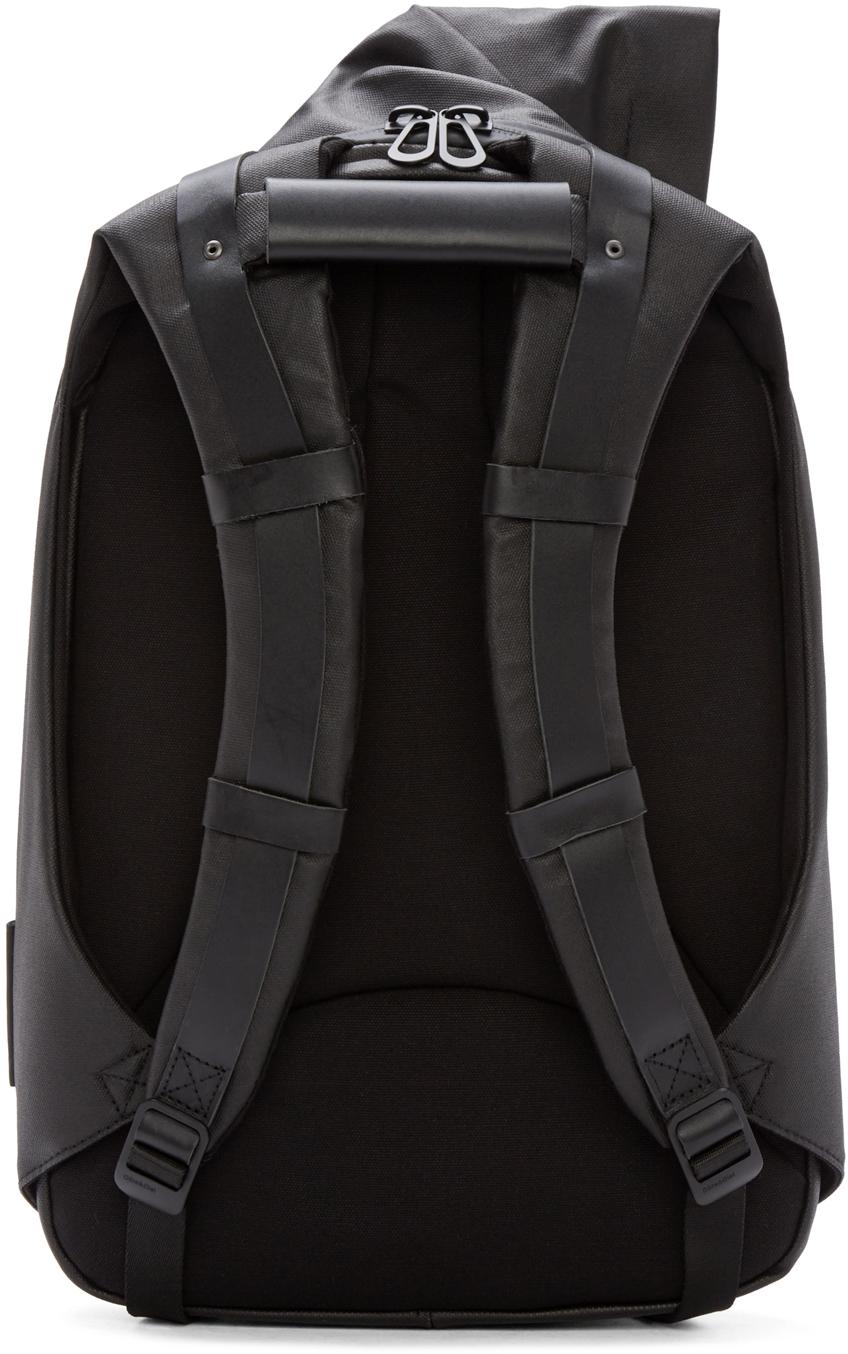 Côte&Ciel Black Coated Canvas Isar Backpack for Men
