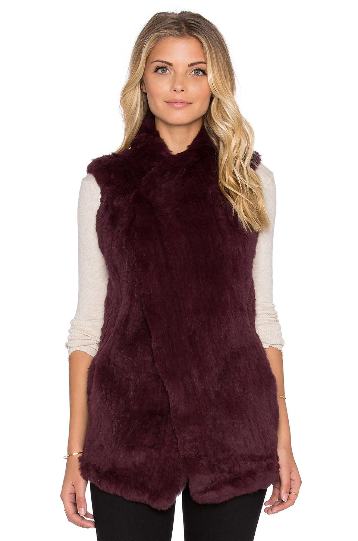 June Long Rabbit Fur Vest In Purple Lyst