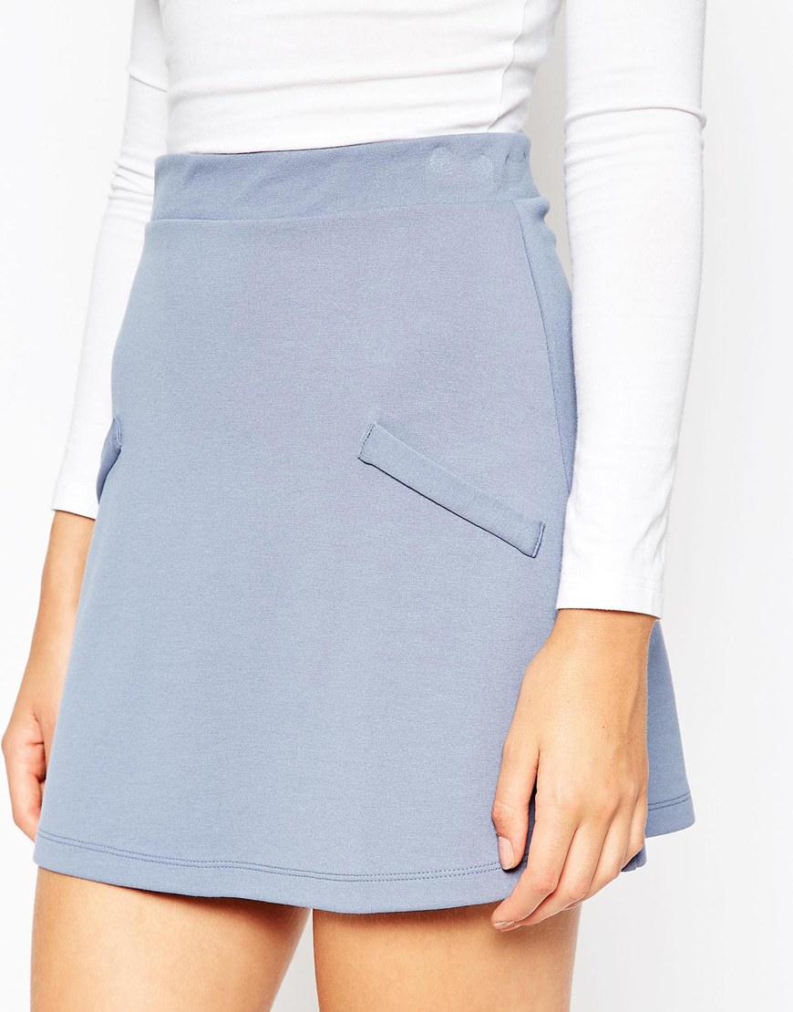 asos a line skirt in ponte with pockets in blue save 32