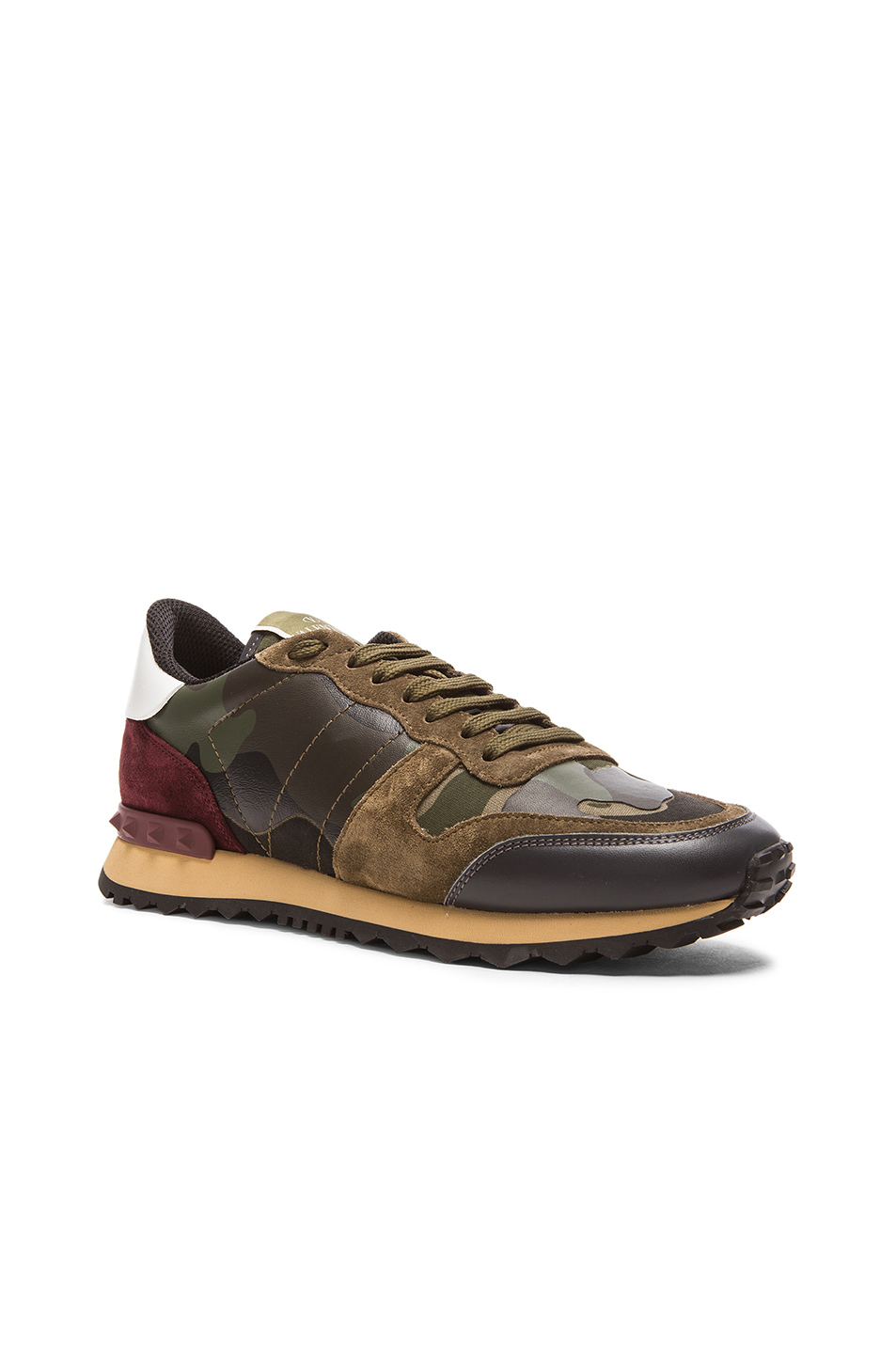 valentino camouflage canvas suede sneakers in green lyst