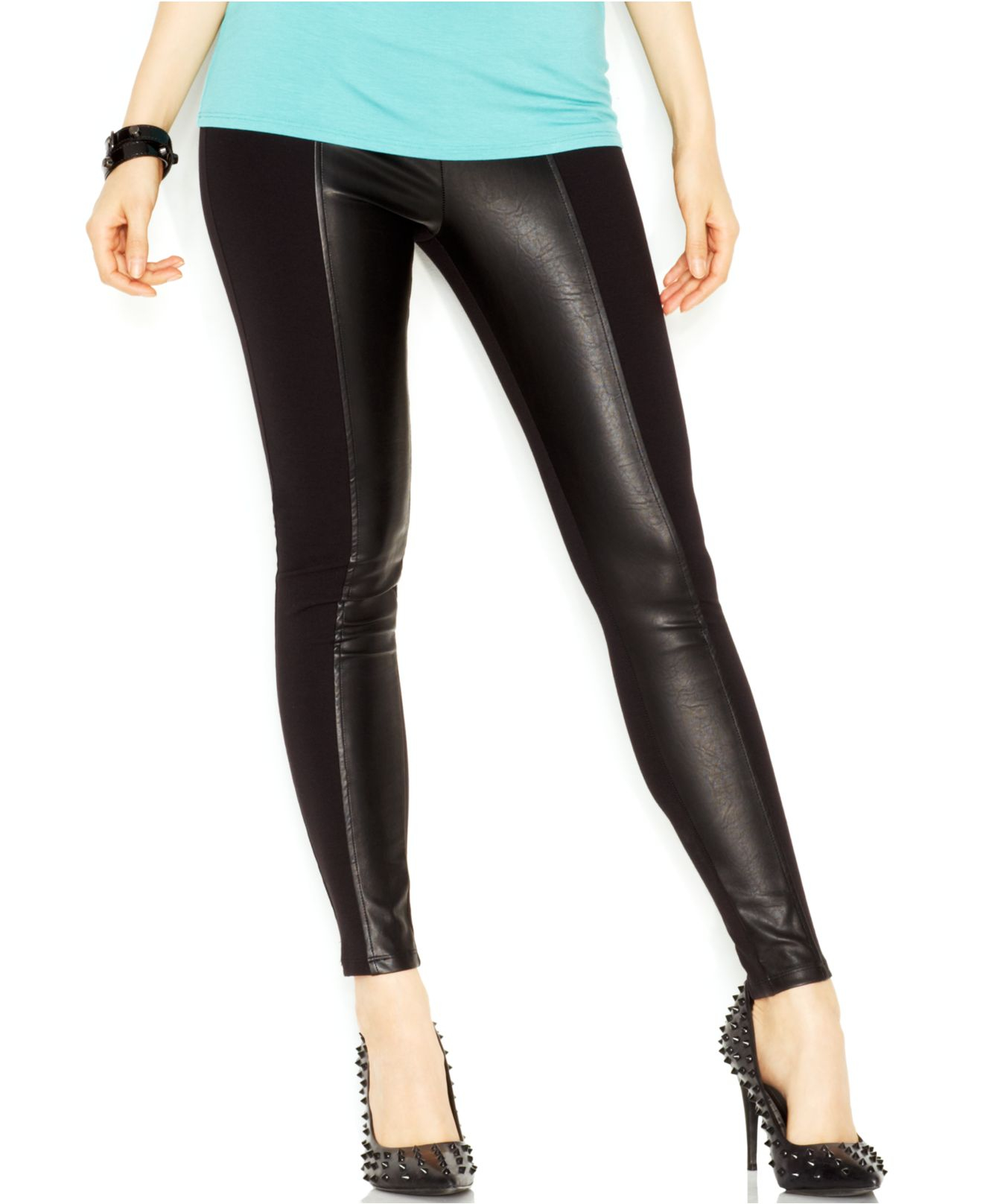 9a5cf7bb9c6d35 Guess Mixed-Media Faux-Leather Panel Leggings in Black - Lyst