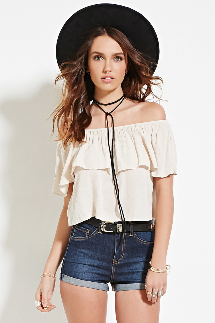 21 Best Grow Your Tarot Business Online Images On: Forever 21 Crinkled Off-the-shoulder Top In Natural