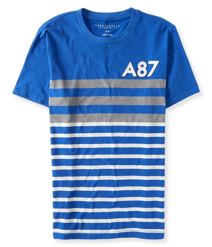 a233ropostale a87 stripe mix logo graphic t in blue lyst