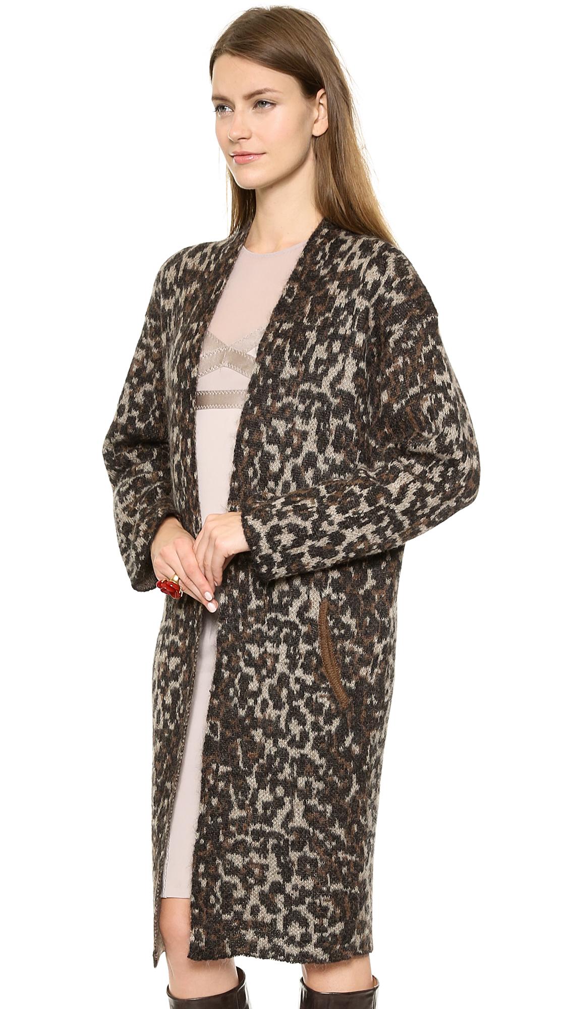 4225ac95f99c By Malene Birger Cameliu Leopard Print Cardigan in Brown - Lyst