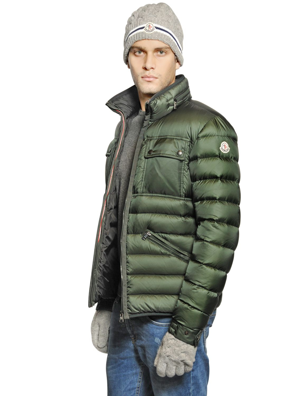 moncler norbert down jacket in green for men lyst. Black Bedroom Furniture Sets. Home Design Ideas