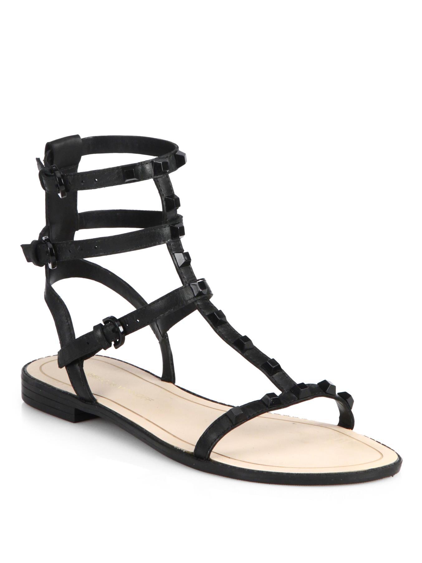 0528a0a04ed Lyst - Rebecca Minkoff Georgina Studded Flat Gladiator Sandals in Black