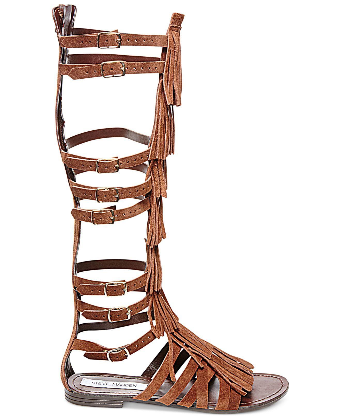 69b9c6b1ca5 Steve Madden Brown Villano Fringe Gladiator Flat Sandals